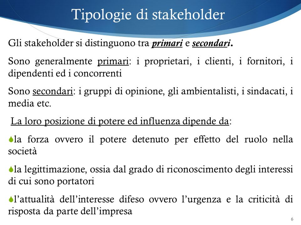 Tipologie di stakeholder