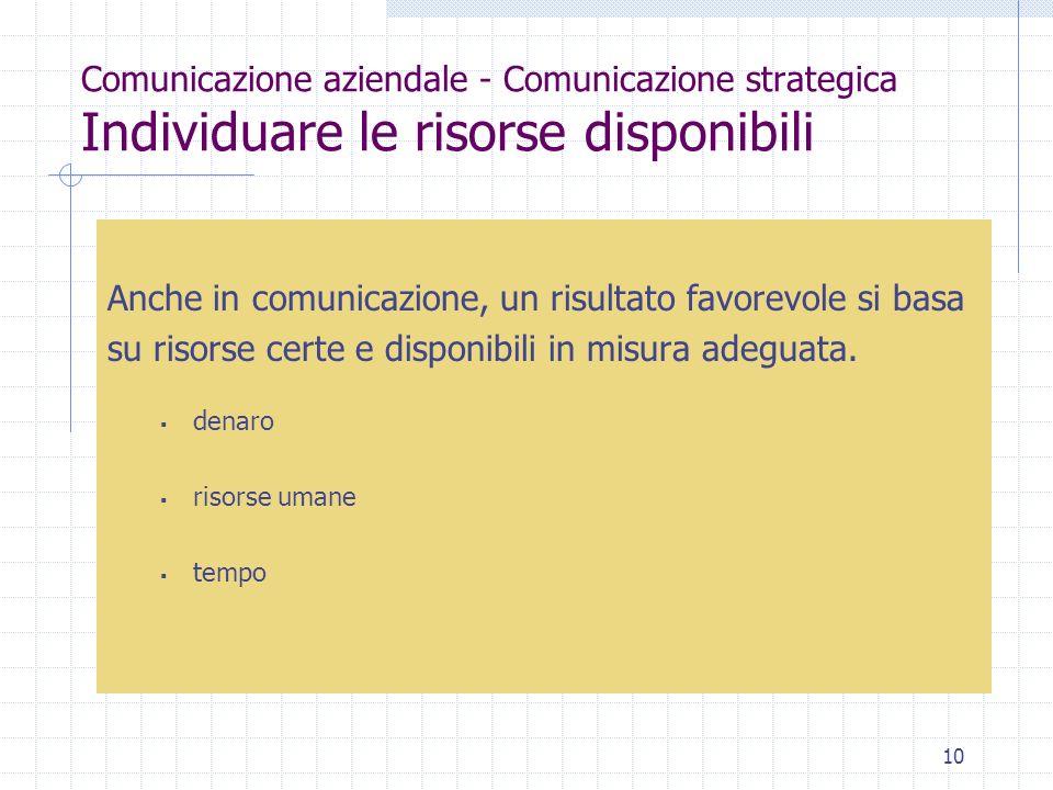 Anche in comunicazione, un risultato favorevole si basa