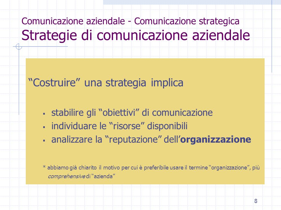Costruire una strategia implica