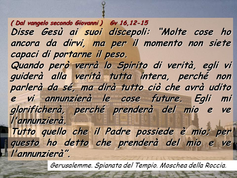 ( Dal vangelo secondo Giovanni ) Gv 16,12-15