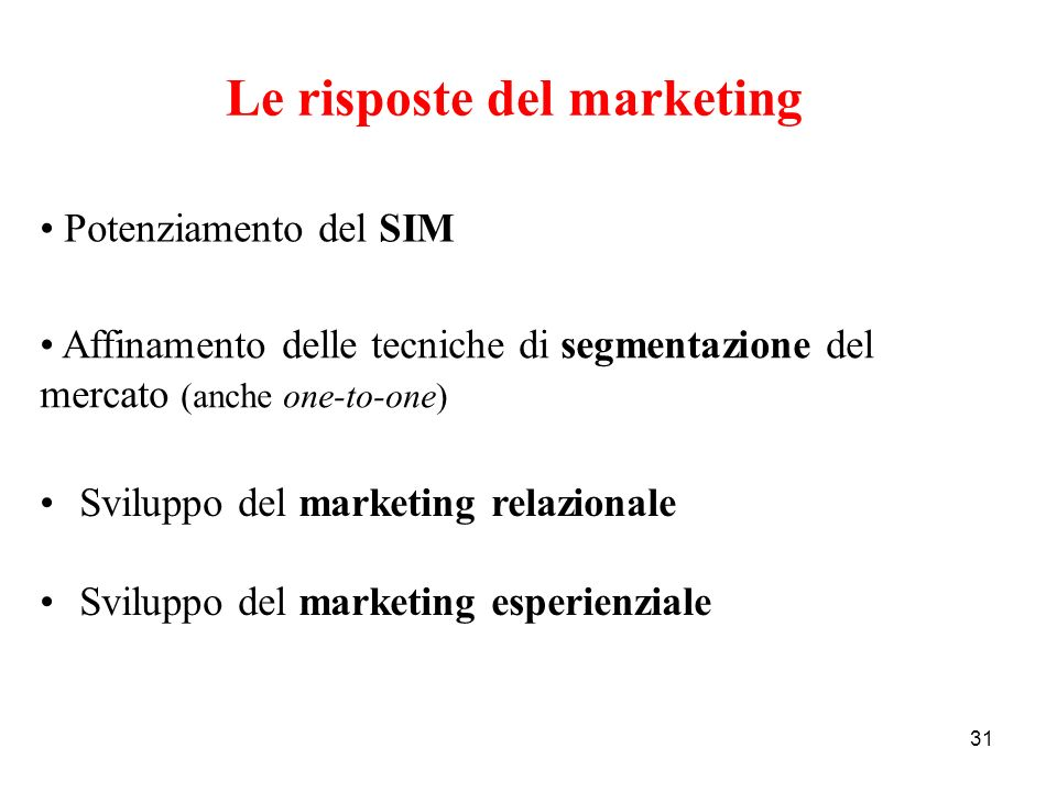 Le risposte del marketing