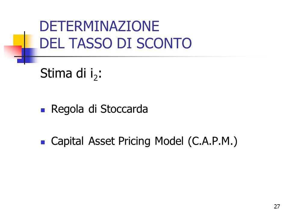 DETERMINAZIONE DEL TASSO DI SCONTO