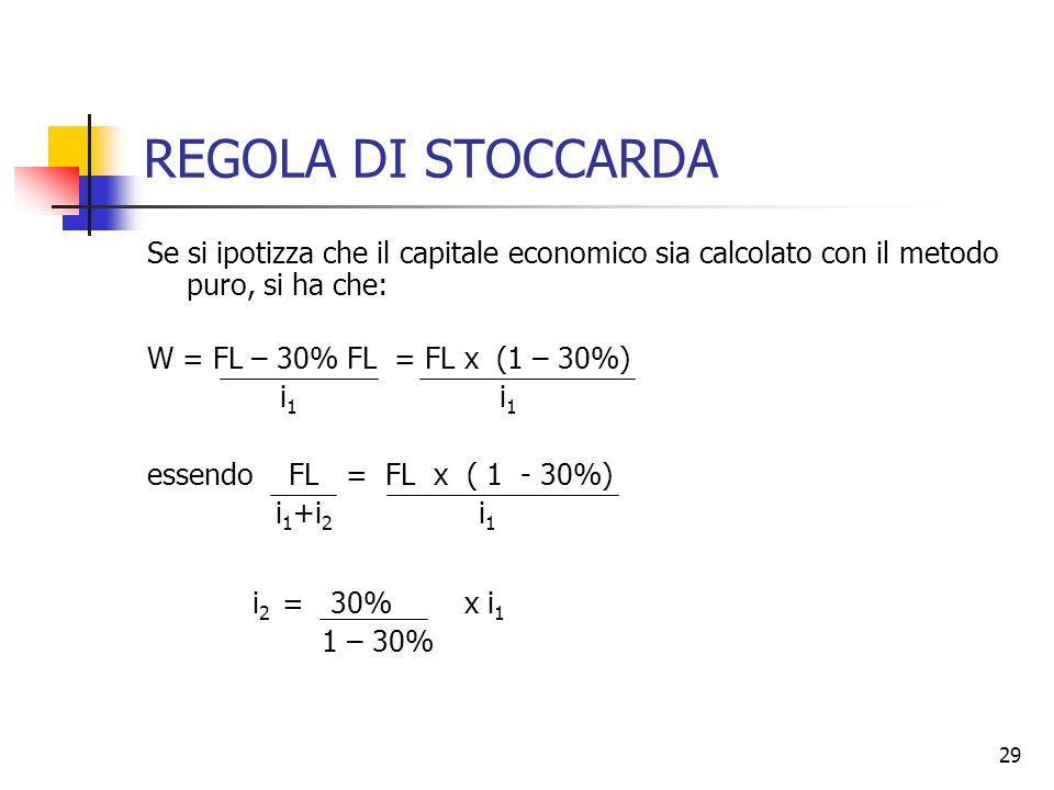 REGOLA DI STOCCARDASe si ipotizza che il capitale economico sia calcolato con il metodo puro, si ha che: