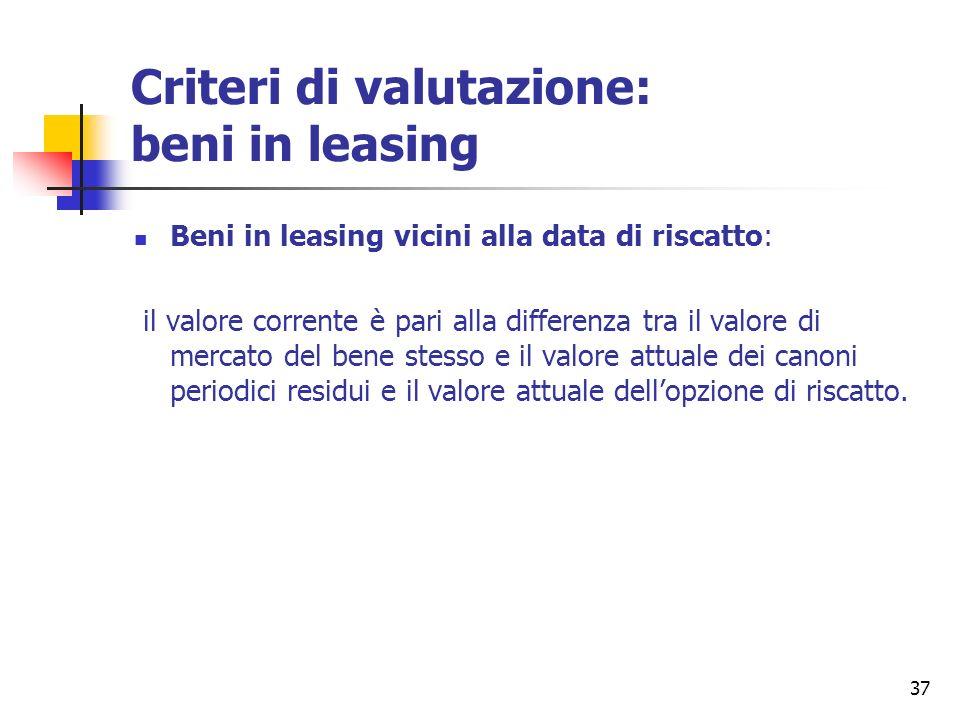 Criteri di valutazione: beni in leasing