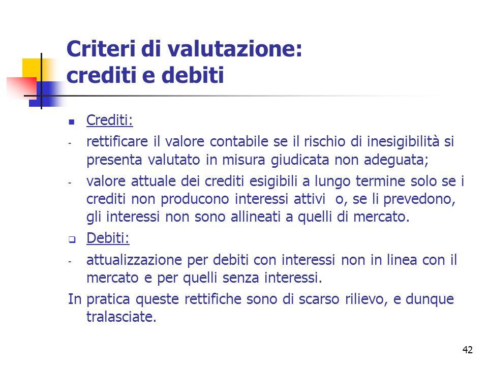 Criteri di valutazione: crediti e debiti
