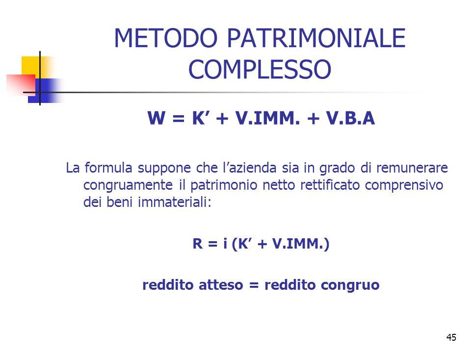 METODO PATRIMONIALE COMPLESSO