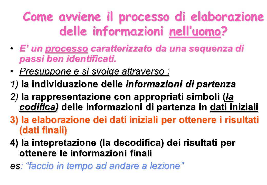 Come avviene il processo di elaborazione delle informazioni nell'uomo