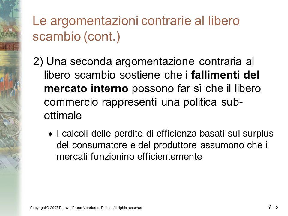 Le argomentazioni contrarie al libero scambio (cont.)