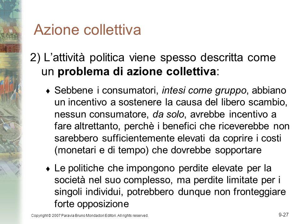 Azione collettiva 2) L'attività politica viene spesso descritta come un problema di azione collettiva: