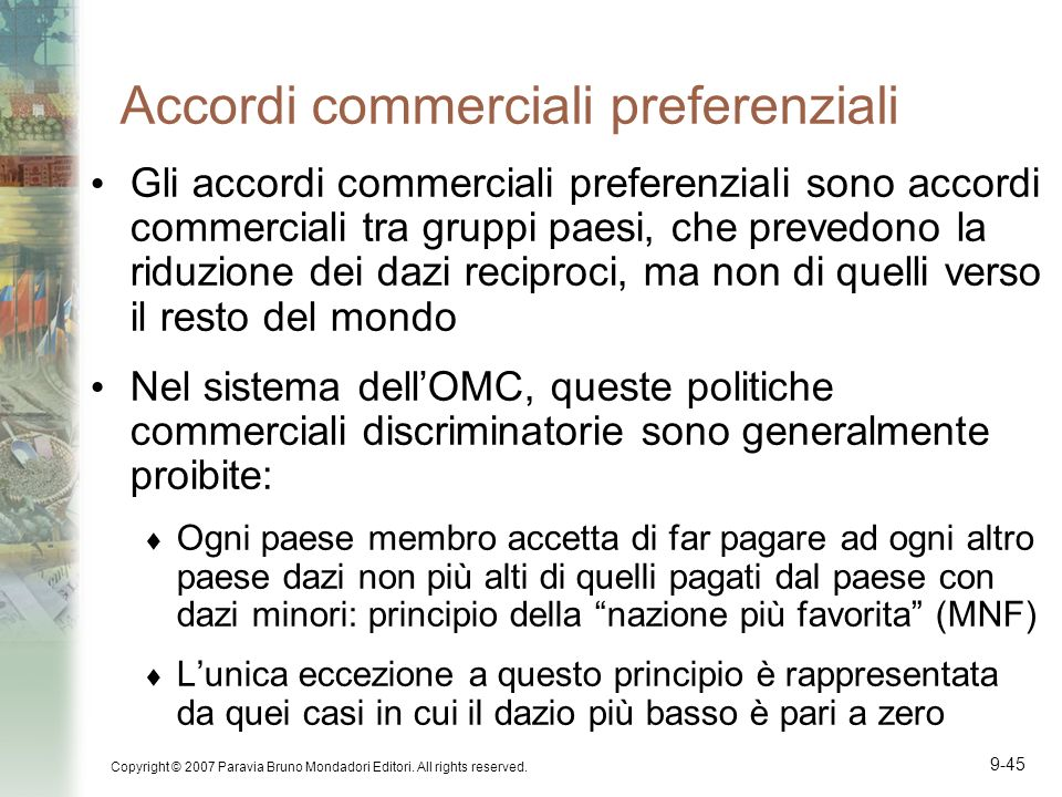 Accordi commerciali preferenziali