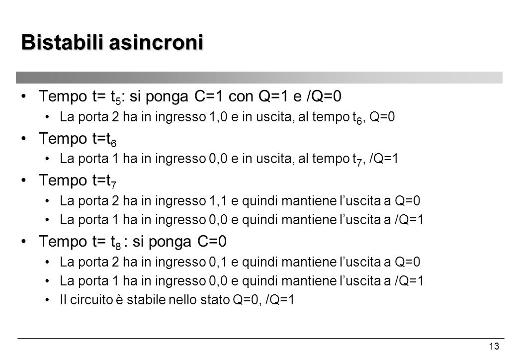 Bistabili asincroni Tempo t= t5: si ponga C=1 con Q=1 e /Q=0