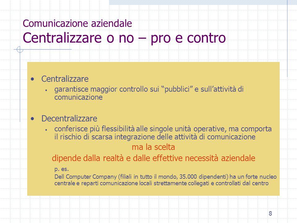 Comunicazione aziendale Centralizzare o no – pro e contro
