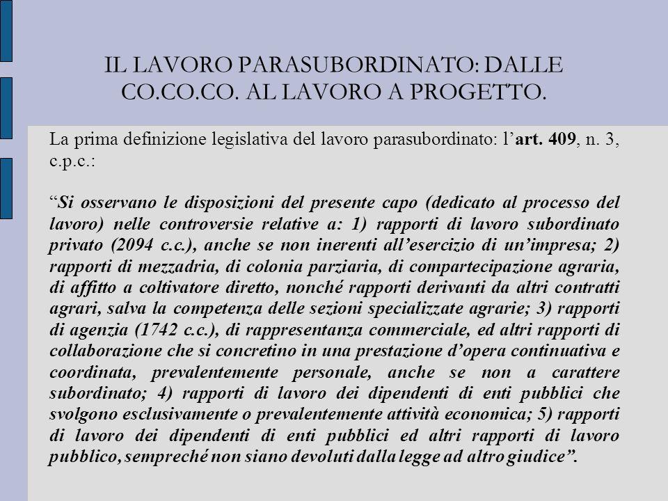 IL LAVORO PARASUBORDINATO: DALLE CO.CO.CO. AL LAVORO A PROGETTO.