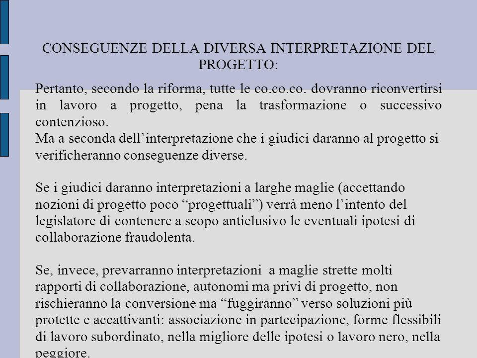 CONSEGUENZE DELLA DIVERSA INTERPRETAZIONE DEL PROGETTO: