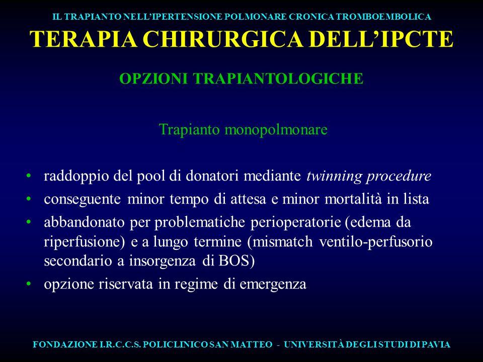 TERAPIA CHIRURGICA DELL'IPCTE OPZIONI TRAPIANTOLOGICHE