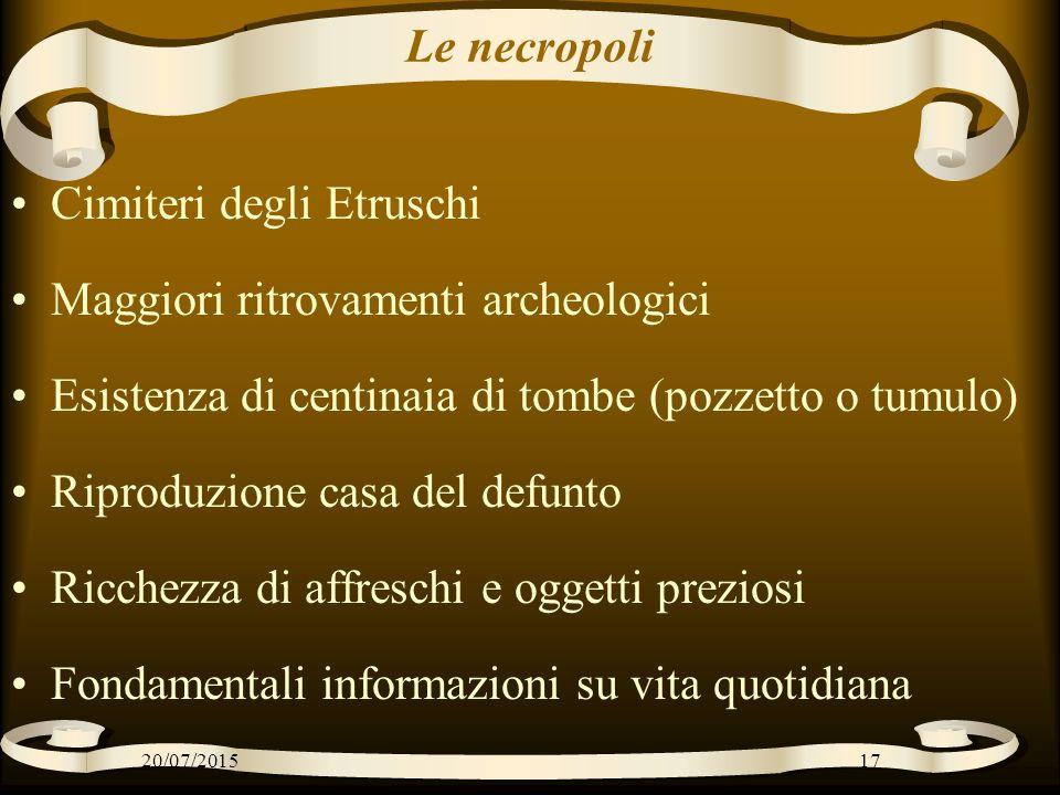 Cimiteri degli Etruschi Maggiori ritrovamenti archeologici
