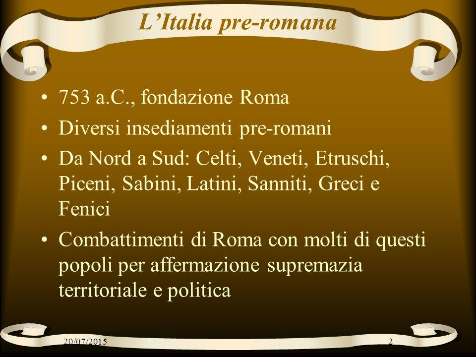 L'Italia pre-romana 753 a.C., fondazione Roma