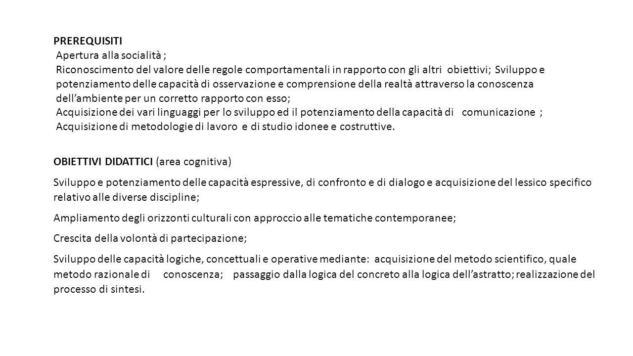 PREREQUISITI Apertura alla socialità ; Riconoscimento del valore delle regole comportamentali in rapporto con gli altri obiettivi; Sviluppo e.