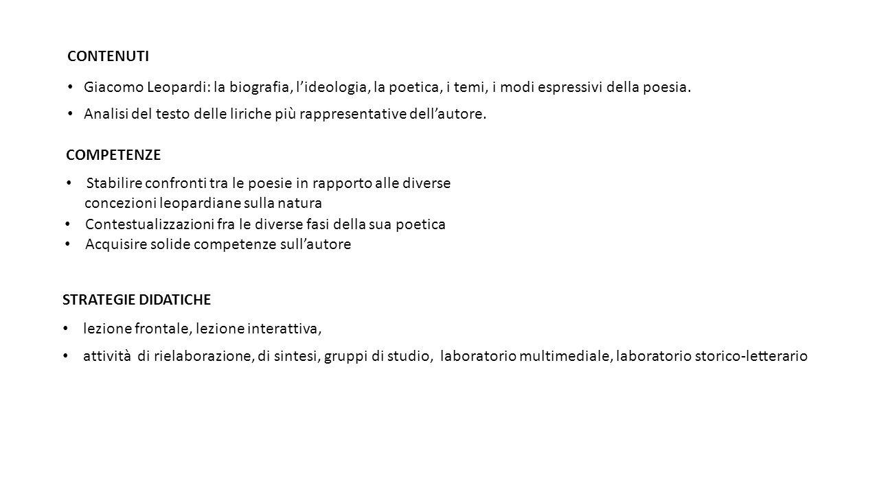 CONTENUTI Giacomo Leopardi: la biografia, l'ideologia, la poetica, i temi, i modi espressivi della poesia.