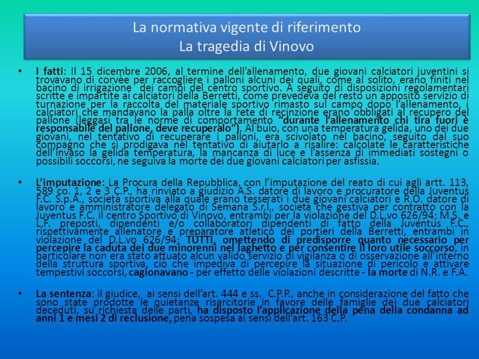 La normativa vigente di riferimento La tragedia di Vinovo