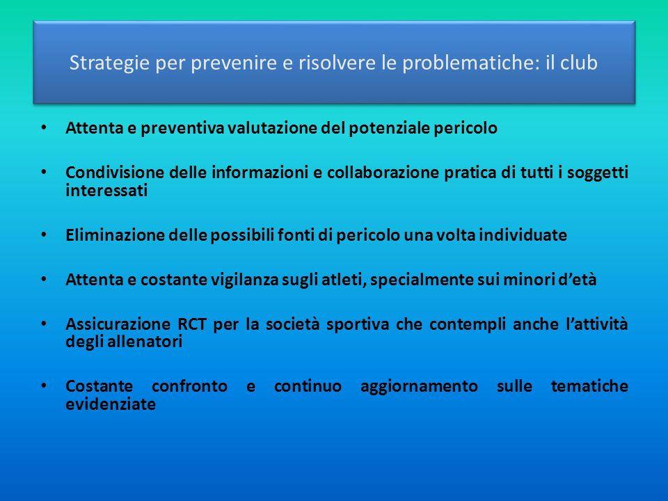 Strategie per prevenire e risolvere le problematiche: il club