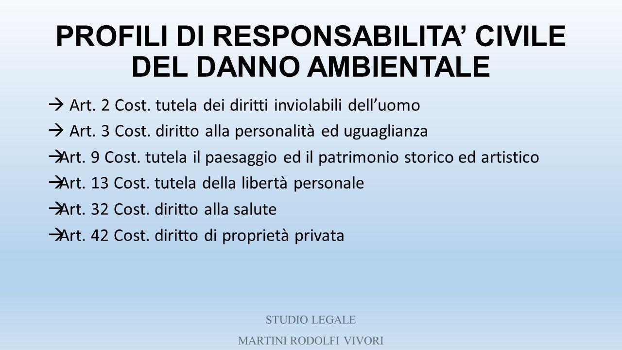 PROFILI DI RESPONSABILITA' CIVILE DEL DANNO AMBIENTALE
