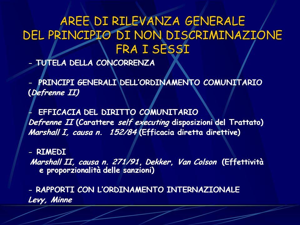 AREE DI RILEVANZA GENERALE DEL PRINCIPIO DI NON DISCRIMINAZIONE FRA I SESSI