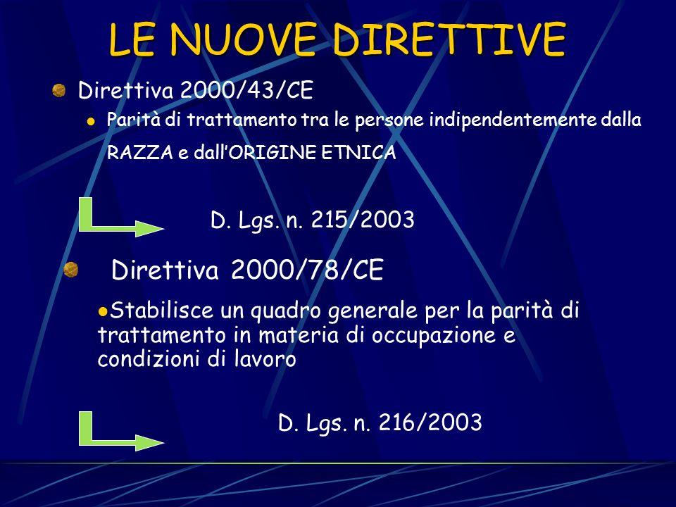 LE NUOVE DIRETTIVE Direttiva 2000/78/CE Direttiva 2000/43/CE