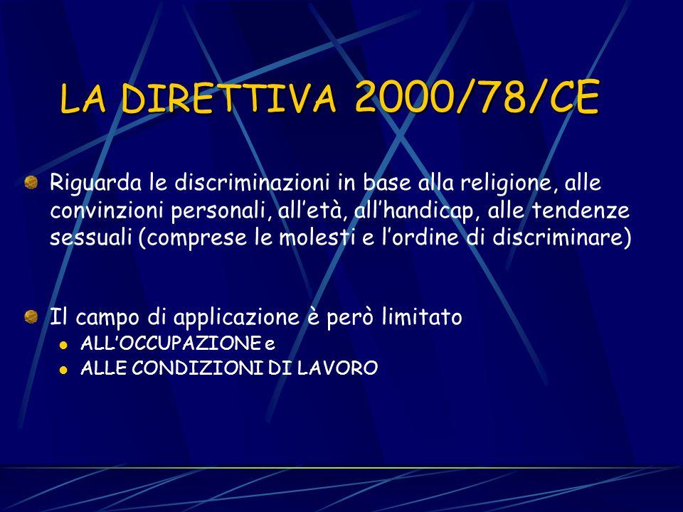 LA DIRETTIVA 2000/78/CE
