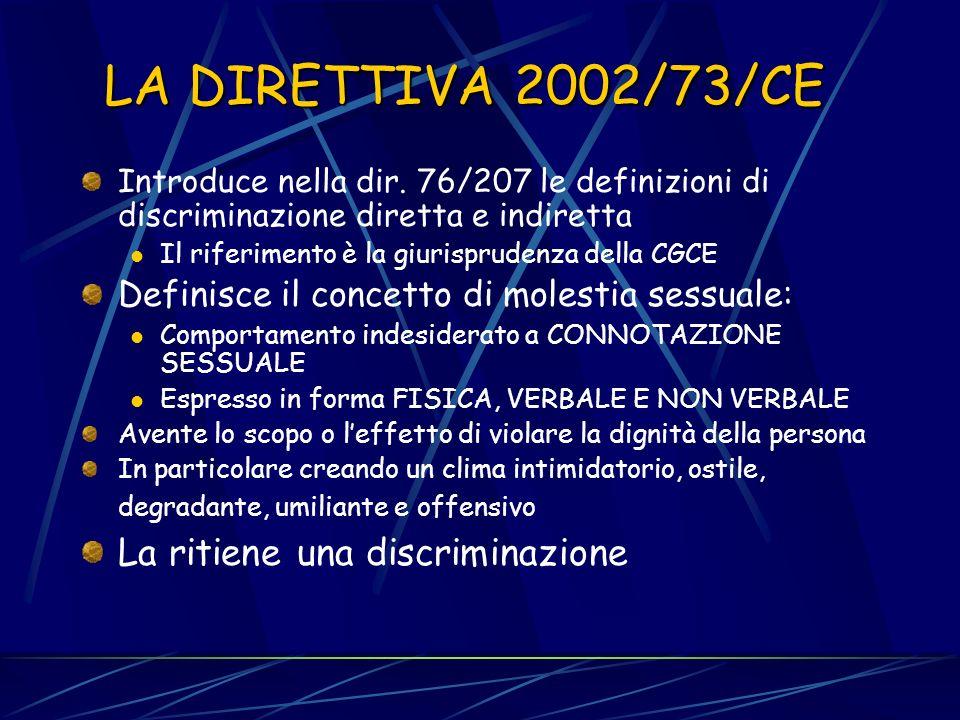 LA DIRETTIVA 2002/73/CE La ritiene una discriminazione