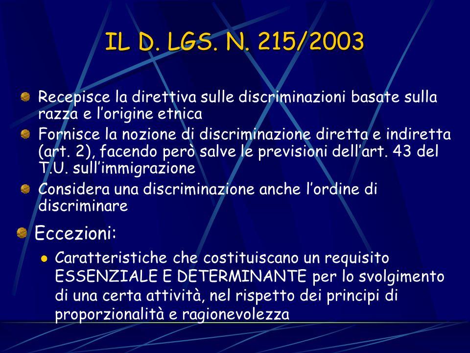 IL D. LGS. N. 215/2003 Recepisce la direttiva sulle discriminazioni basate sulla razza e l'origine etnica.