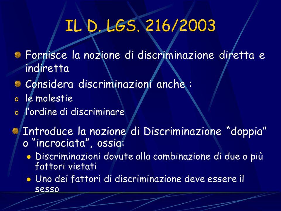 IL D. LGS. 216/2003 Fornisce la nozione di discriminazione diretta e indiretta. Considera discriminazioni anche :