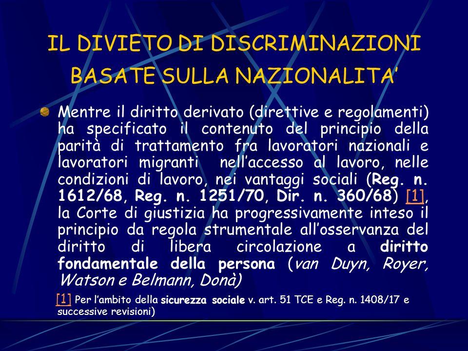 IL DIVIETO DI DISCRIMINAZIONI BASATE SULLA NAZIONALITA'