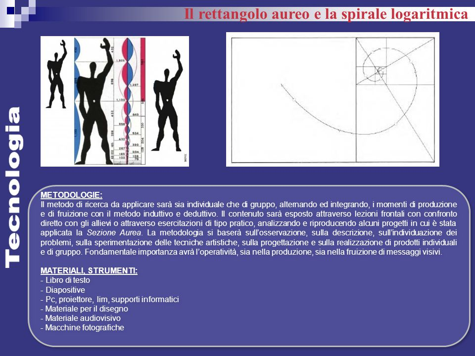 Tecnologia Il rettangolo aureo e la spirale logaritmica METODOLOGIE: