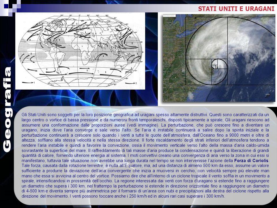 Geografia STATI UNITI E URAGANI