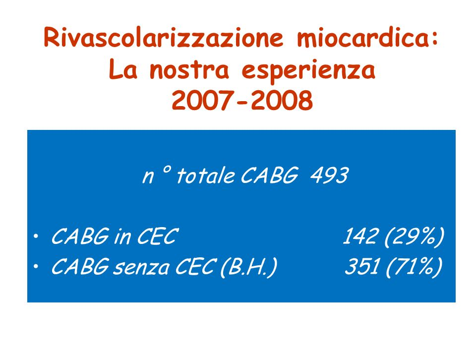 Rivascolarizzazione miocardica: La nostra esperienza 2007-2008