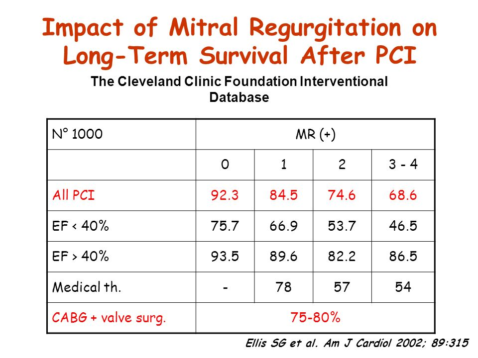Impact of Mitral Regurgitation on Long-Term Survival After PCI