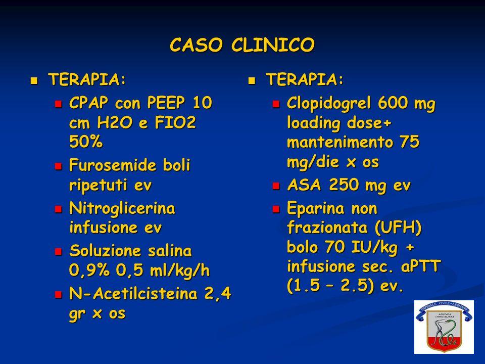 CASO CLINICO TERAPIA: CPAP con PEEP 10 cm H2O e FIO2 50%