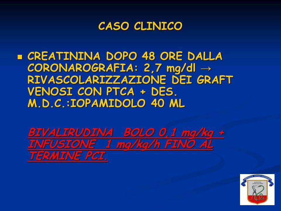 CASO CLINICO CREATININA DOPO 48 ORE DALLA CORONAROGRAFIA: 2,7 mg/dl → RIVASCOLARIZZAZIONE DEI GRAFT VENOSI CON PTCA + DES. M.D.C.:IOPAMIDOLO 40 ML.