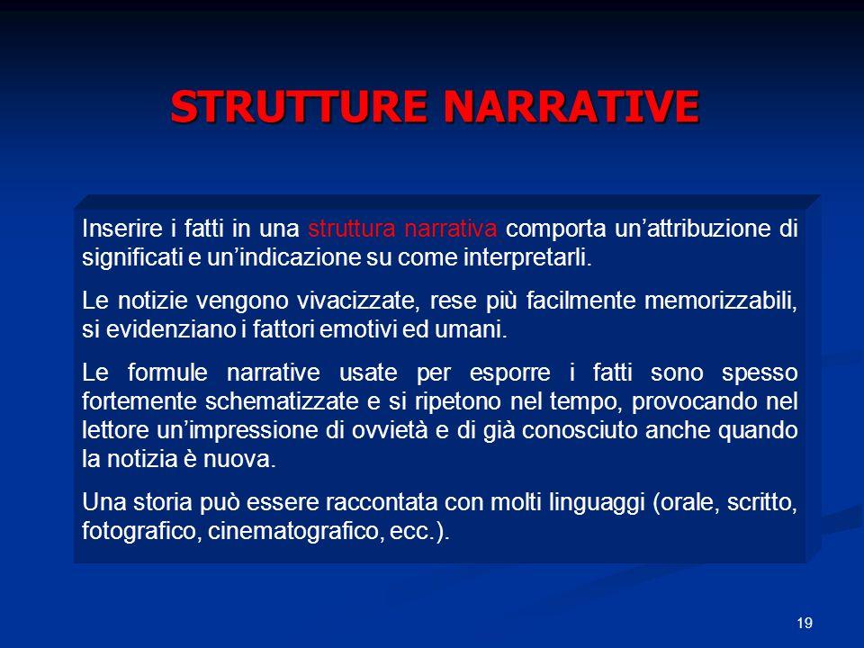 STRUTTURE NARRATIVE Inserire i fatti in una struttura narrativa comporta un'attribuzione di significati e un'indicazione su come interpretarli.