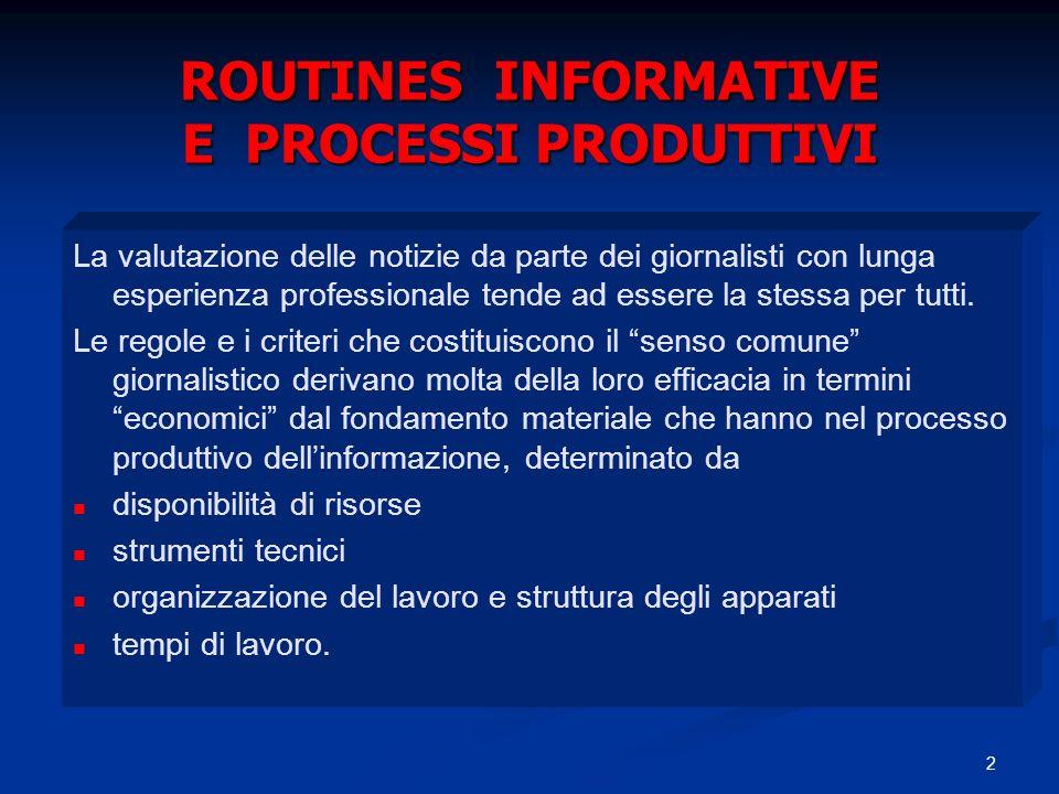 ROUTINES INFORMATIVE E PROCESSI PRODUTTIVI