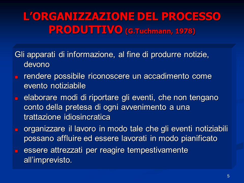 L'ORGANIZZAZIONE DEL PROCESSO PRODUTTIVO (G.Tuchmann, 1978)
