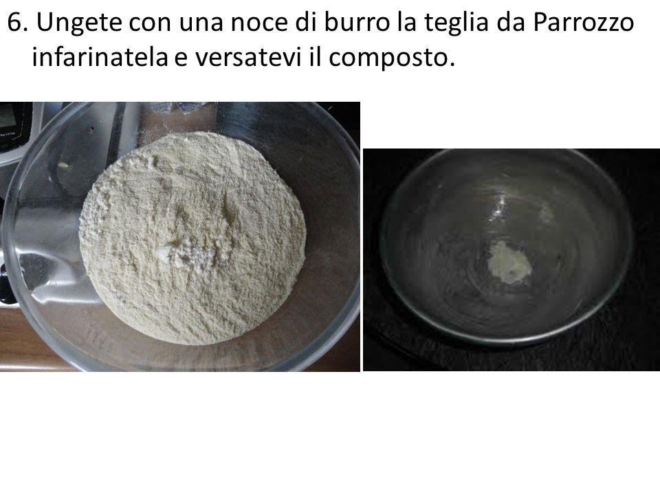6. Ungete con una noce di burro la teglia da Parrozzo infarinatela e versatevi il composto.