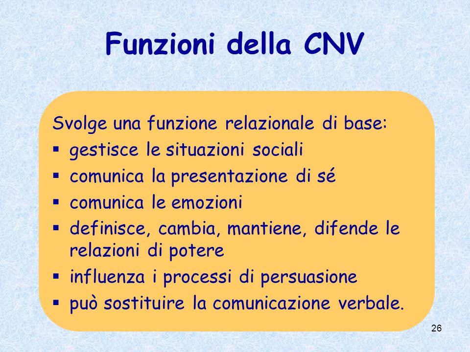 Funzioni della CNV Svolge una funzione relazionale di base: