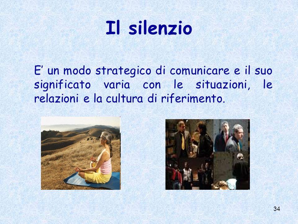 Il silenzio E' un modo strategico di comunicare e il suo significato varia con le situazioni, le relazioni e la cultura di riferimento.