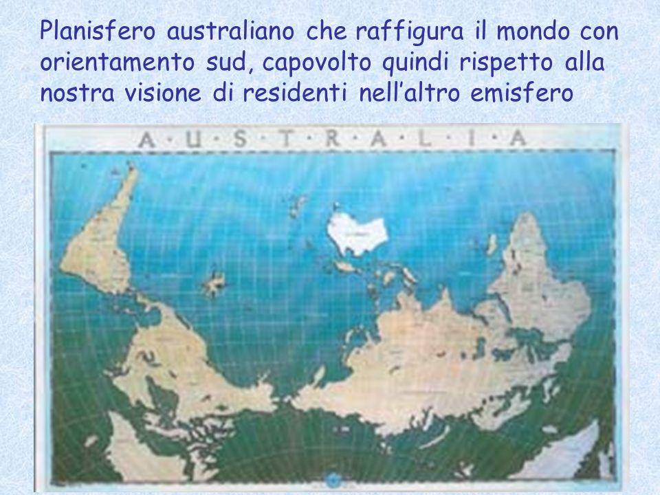 Planisfero australiano che raffigura il mondo con orientamento sud, capovolto quindi rispetto alla nostra visione di residenti nell'altro emisfero