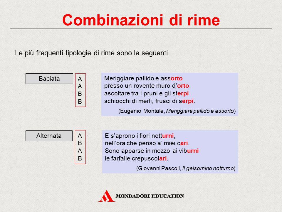 Combinazioni di rime Le più frequenti tipologie di rime sono le seguenti. Alternata. A. B. Baciata.
