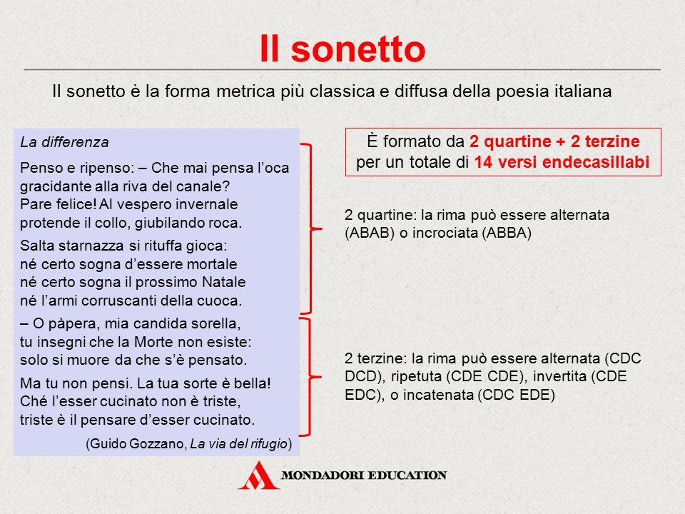 Il sonetto Il sonetto è la forma metrica più classica e diffusa della poesia italiana. La differenza.