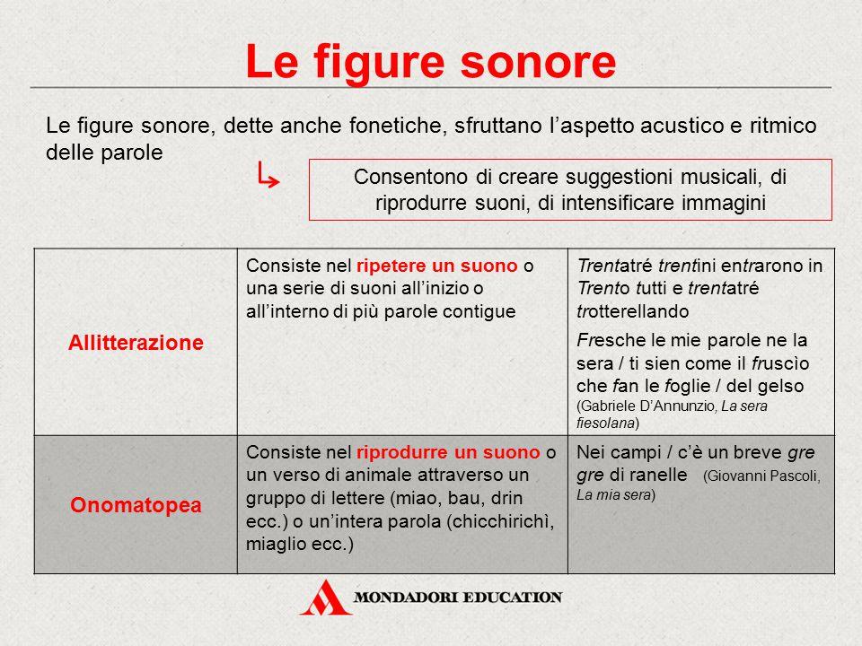 Le figure sonore Le figure sonore, dette anche fonetiche, sfruttano l'aspetto acustico e ritmico delle parole.