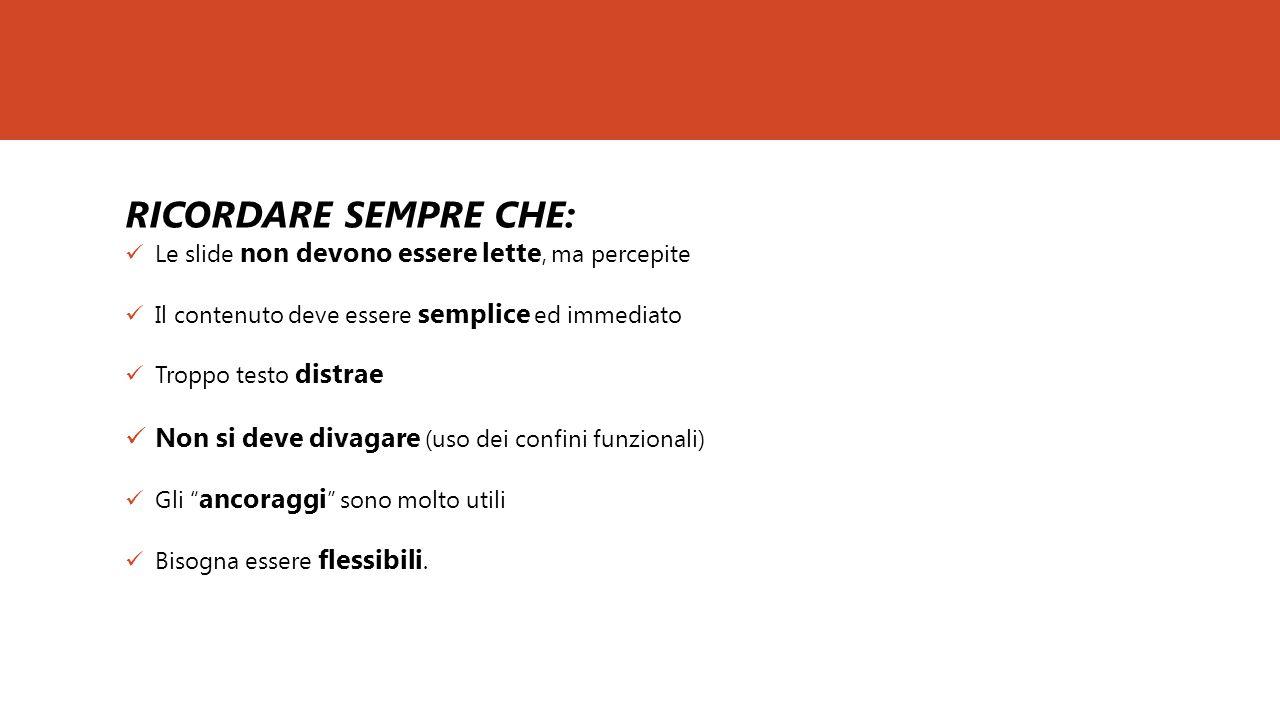 RICORDARE SEMPRE CHE: Le slide non devono essere lette, ma percepite. Il contenuto deve essere semplice ed immediato.